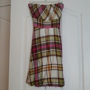 American Rag Plaid Colorful Strapless Dress